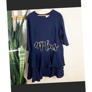 Plus ELIZA J Navy Mini Dress w/Ruffled Hem